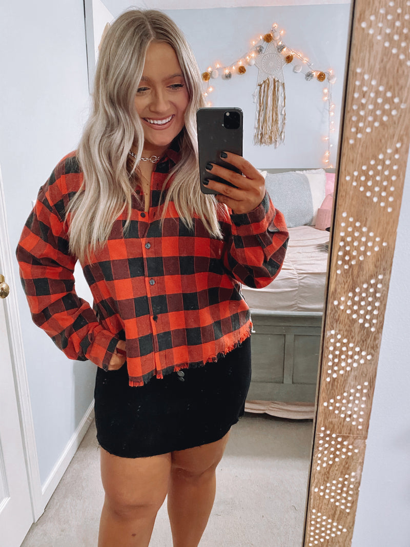 Restoration Plaid Side Stripe Top - Madison and Mallory