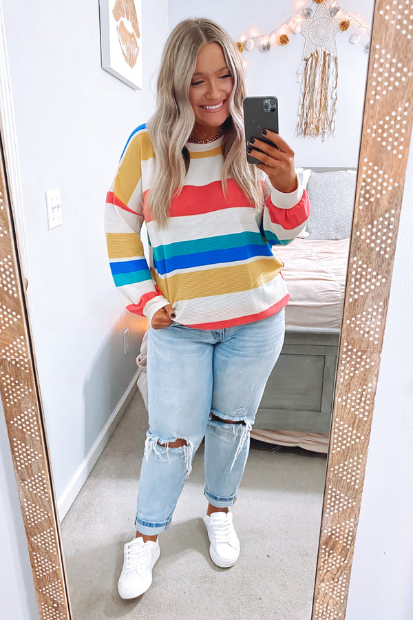 Zuri Multi Color Striped Top - Madison and Mallory