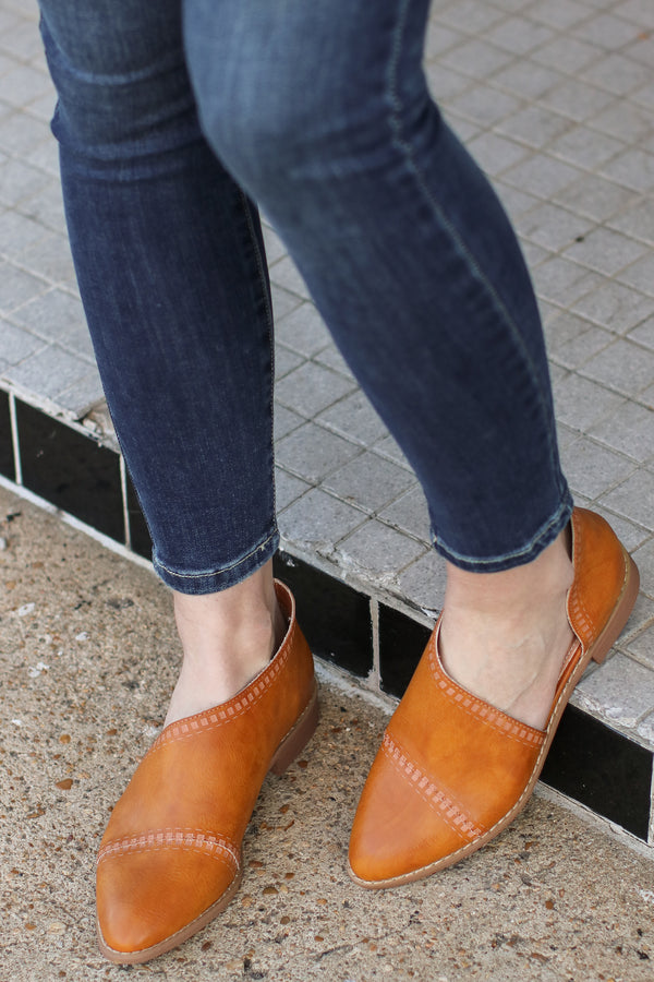 6 / Toffee Nadeen Patterned Cutout Flats - FINAL SALE - Madison and Mallory