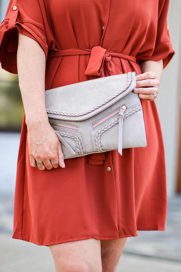 OS / Gray Intricate Influence Whipstich Clutch - Madison + Mallory