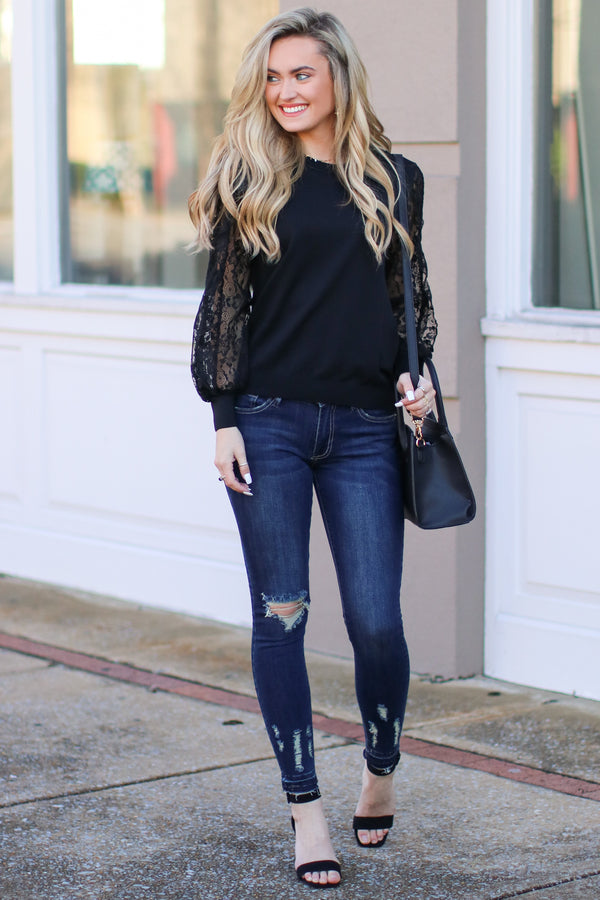 Townhouse Lace Sleeve Top - Black - Madison + Mallory