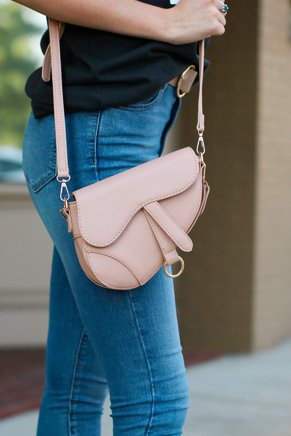 Nude McLaren Faux Leather Saddle Bag - Nude - Madison + Mallory