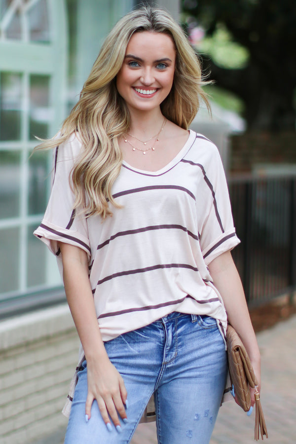 S / Oatmeal Out of Bounds Striped V-Neck Top - Madison and Mallory