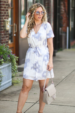 S / Blue Tempting Tie Dye Dress - Madison + Mallory
