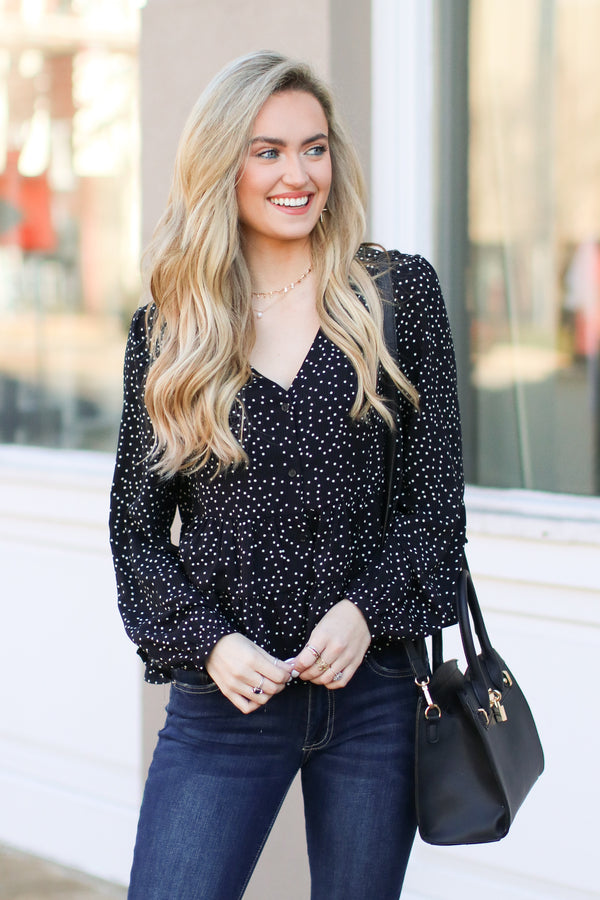 Black / S Hopelyn Polka Dot Tiered Top - Black - Madison + Mallory