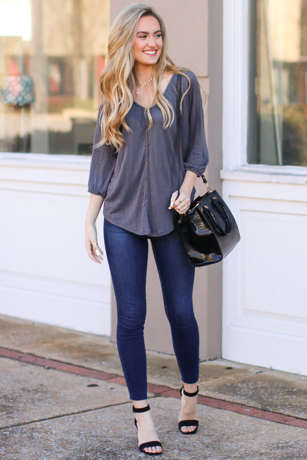 Reeves Button Front Top - Charcoal - Madison + Mallory