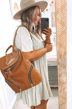 Charleigh Zip Faux Leather Backpack - Tan - Madison and Mallory