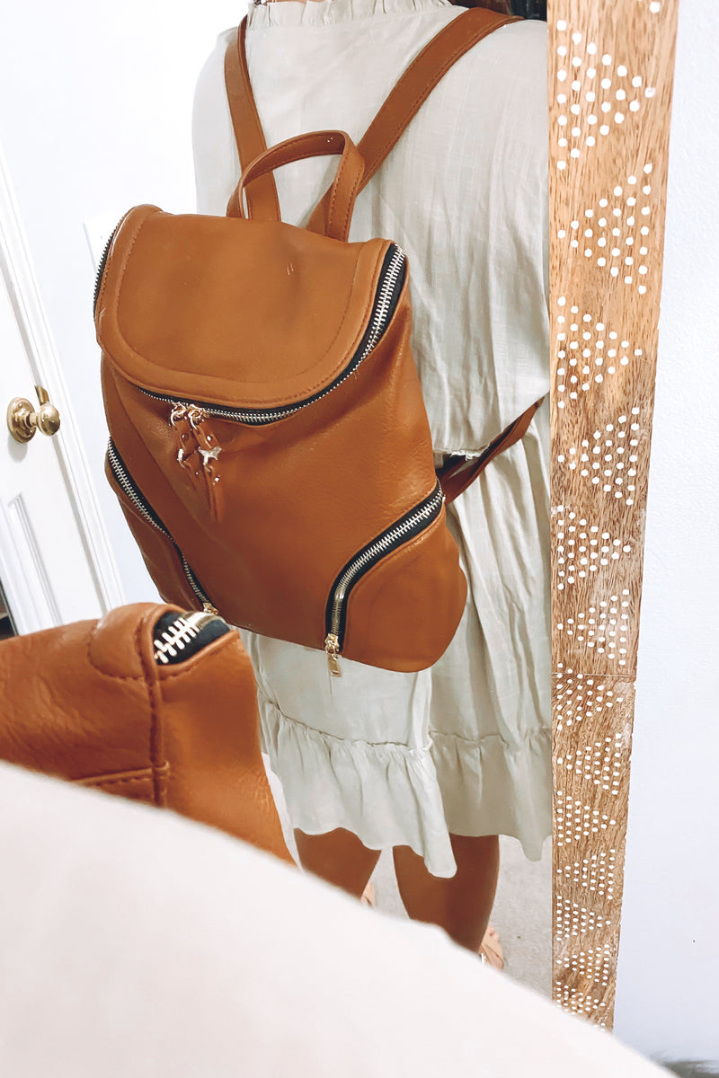 Tan Charleigh Zip Faux Leather Backpack - Tan - Madison and Mallory