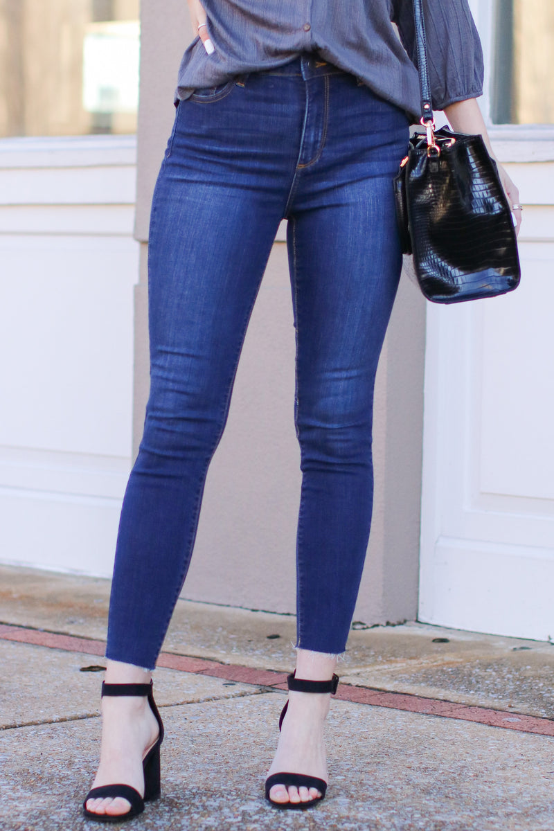 1 / Dark Confession Time Raw Hem Skinny Jeans - Madison and Mallory