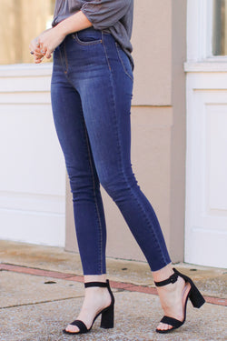 1 / Dark Confession Time Raw Hem Skinny Jeans - Madison + Mallory