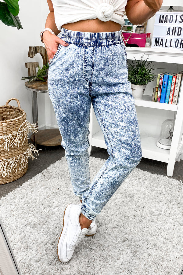 Stoked Acid Washed Denim Joggers - Madison and Mallory