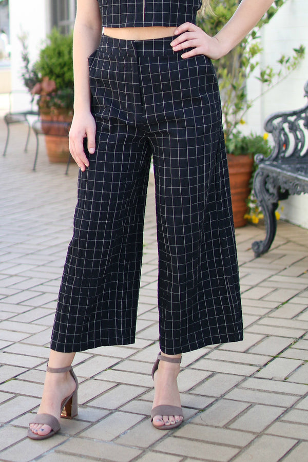 Wide Leg Checkered Pants - FINAL SALE - Madison and Mallory