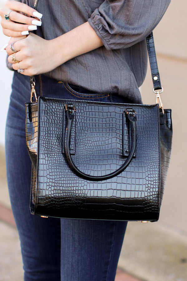 Diem Faux Crocodile Leather Bag - Black - Madison + Mallory