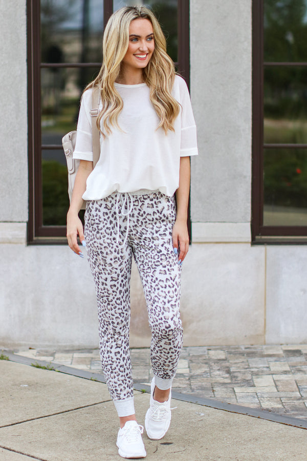 S / Heather Gray Copiah Animal Print Joggers - Madison and Mallory