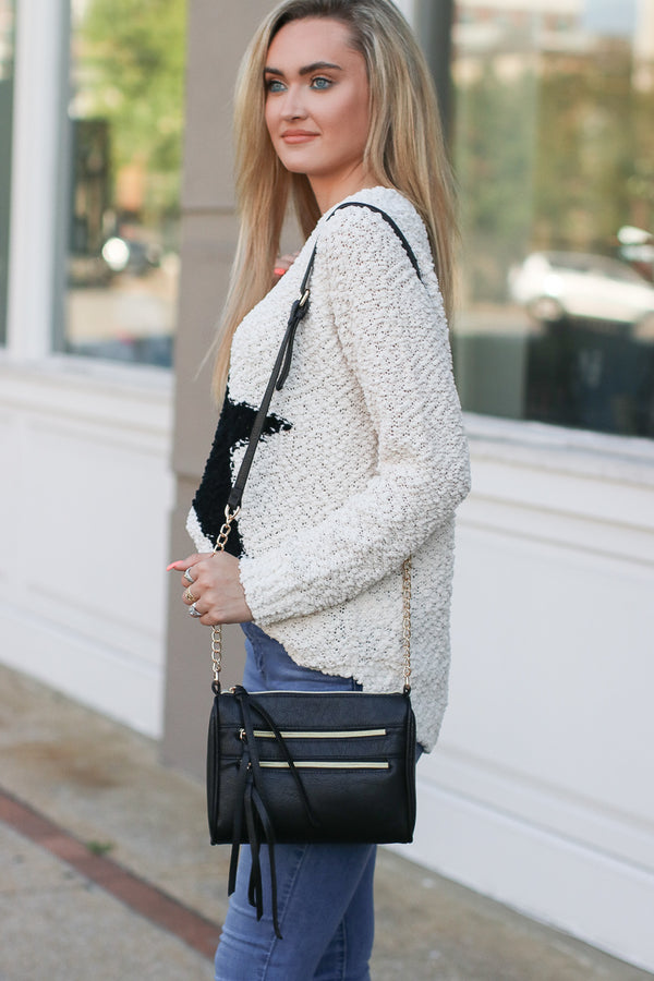 Midtown Double Zip Crossbody - Black - Madison + Mallory