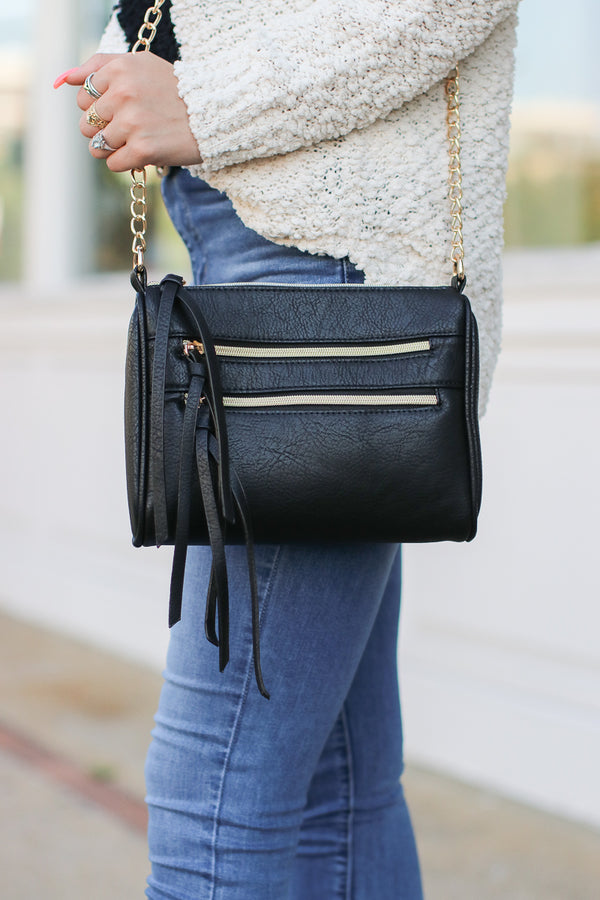 Black Midtown Double Zip Crossbody - Black - Madison + Mallory