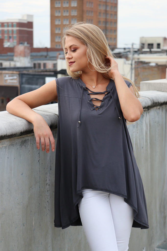 High Low Lace Up Tank Top