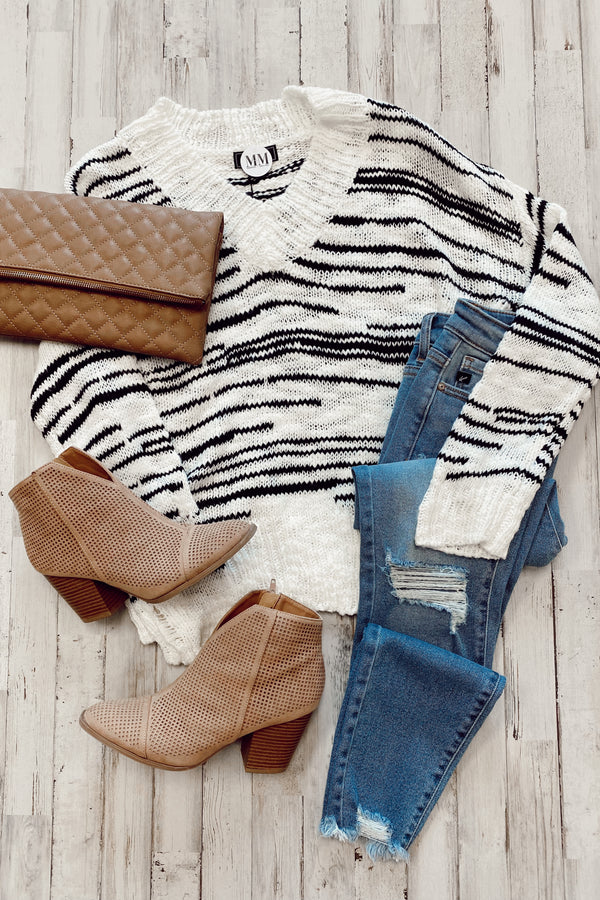 Better Now V-Neck Striped Sweater - Madison and Mallory
