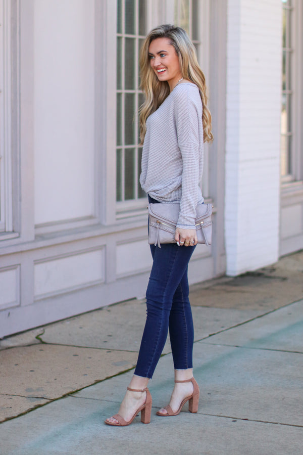 Josiah Twist Front Top - Gray - Madison and Mallory