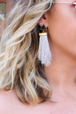 OS / Gray Antonia Marble Tassel Earrings + MORE COLORS - Madison + Mallory