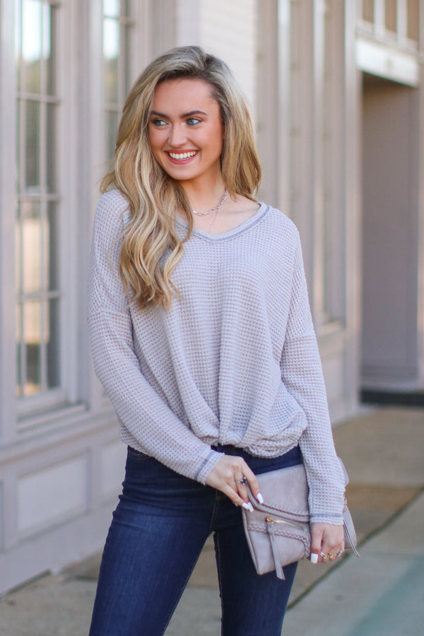 Gray / S Josiah Twist Front Top - Gray - FINAL SALE - Madison and Mallory