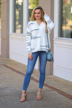 Speechless Multi Color Line Knit Sweater - Madison + Mallory