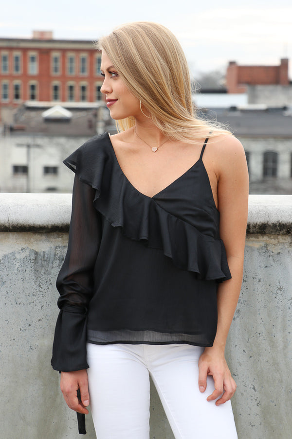 S / Black Asymmetrical One Shoulder Ruffle Top - Madison + Mallory