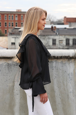 Asymmetrical One Shoulder Ruffle Top