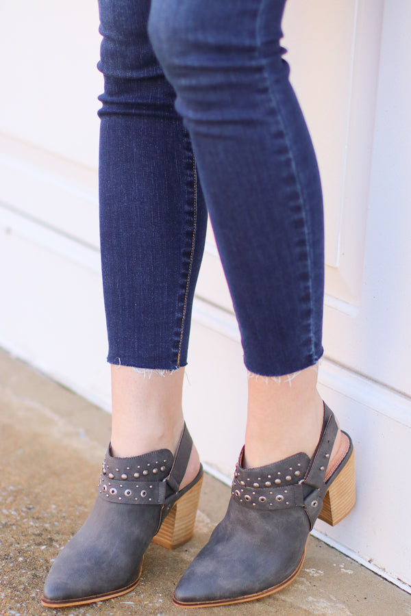 Dark Gray / 6 Philomena Studded Bootie - Dark Gray - Madison and Mallory