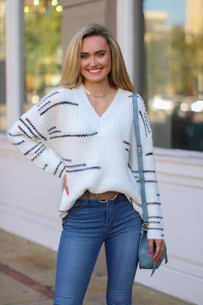 S / Ivory Speechless Multi Color Line Knit Sweater - Madison + Mallory