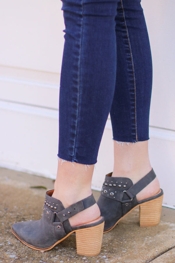 Philomena Studded Bootie - Dark Gray - Madison and Mallory