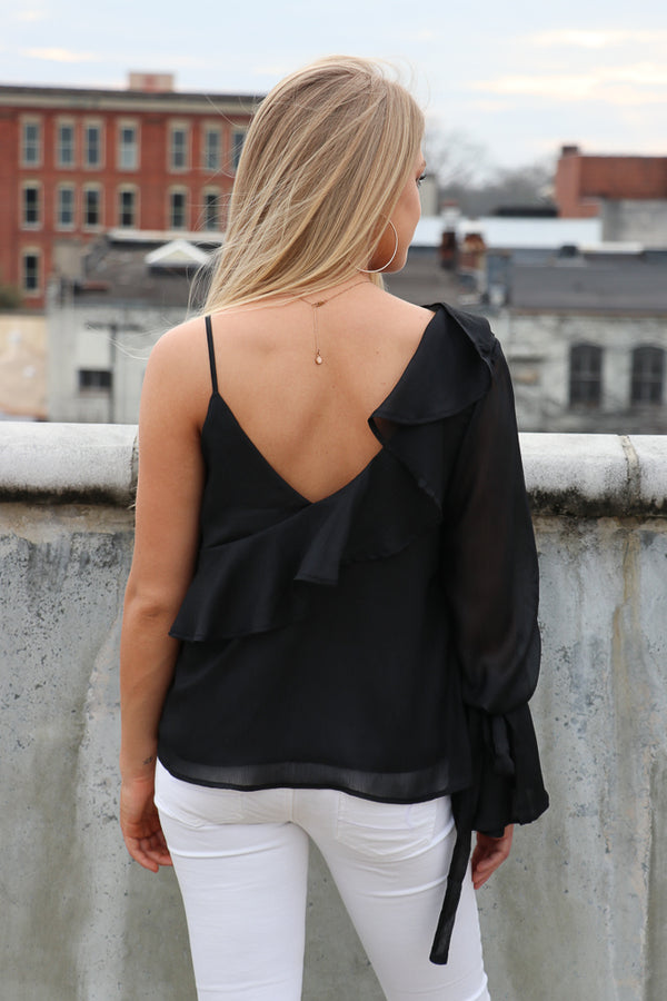 Asymmetrical One Shoulder Ruffle Top - Madison + Mallory