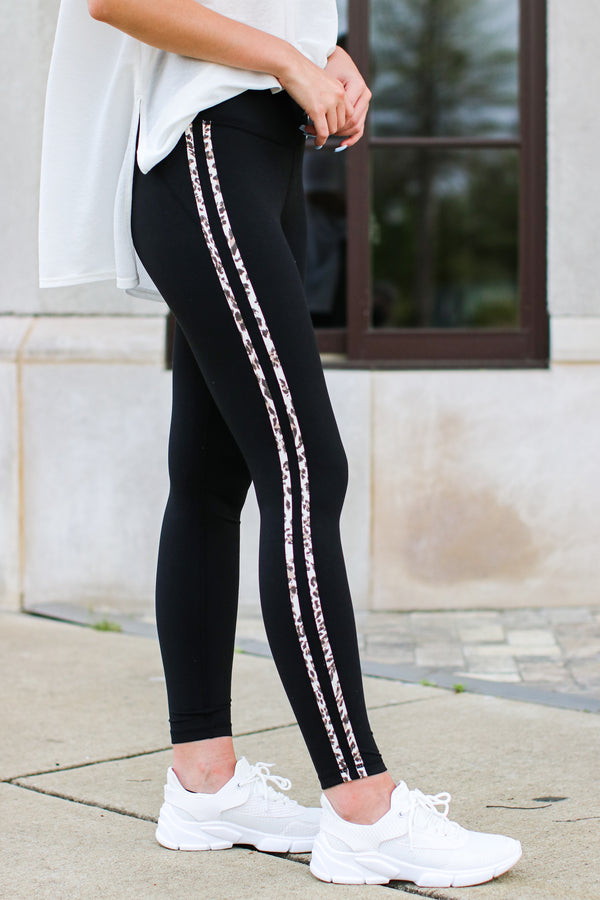 S / Black Wild Whims Leopard Trim Leggings | Curve - Madison and Mallory