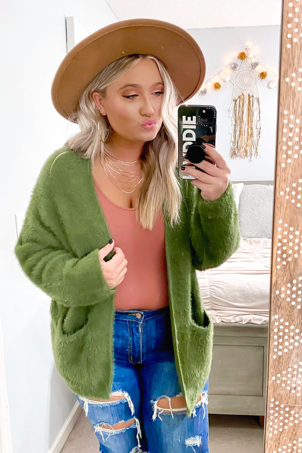 Olive / S Fenix Cozy Knit Cardigan - Madison and Mallory