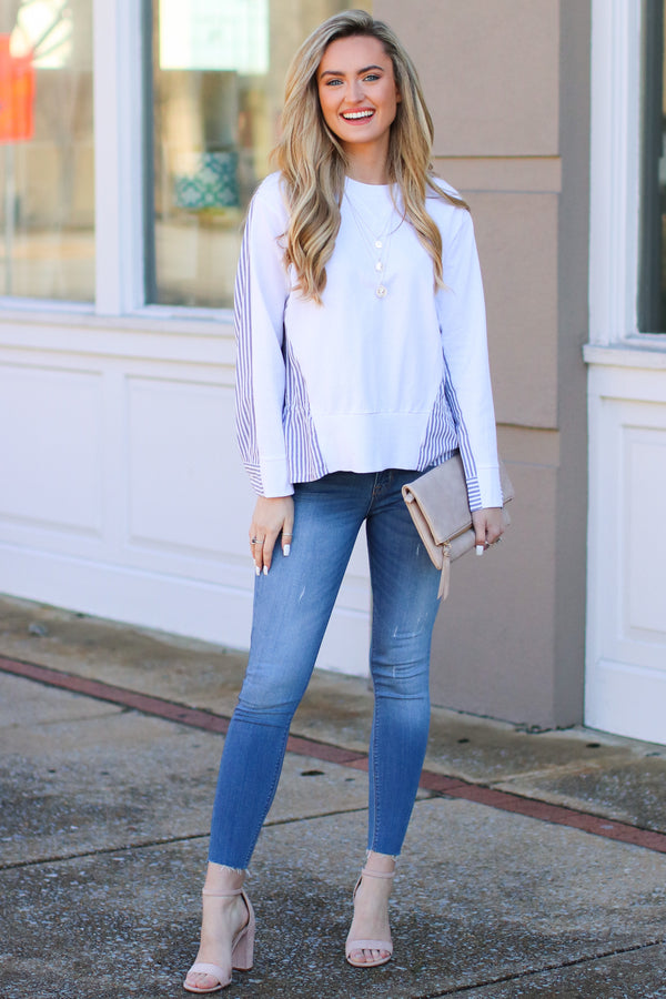 S / White Windsong Layered Look Striped Top - Madison + Mallory