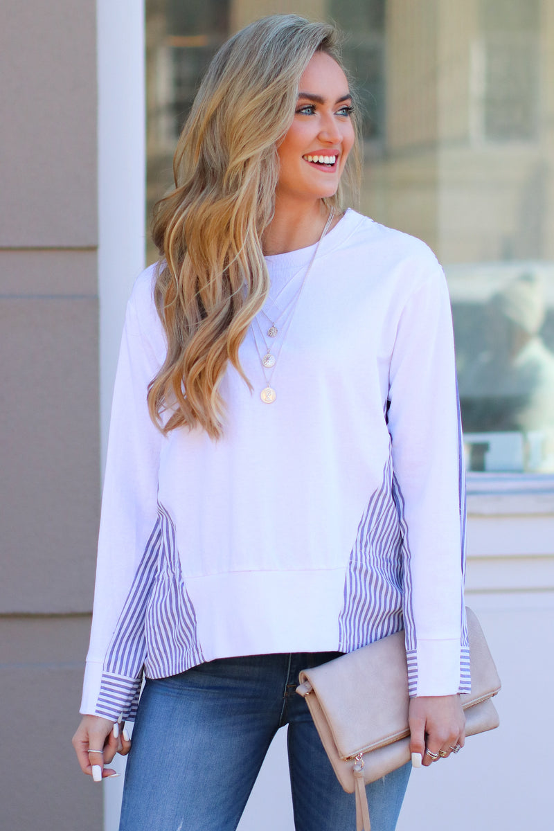 S / White Windsong Layered Look Striped Top - FINAL SALE - Madison and Mallory