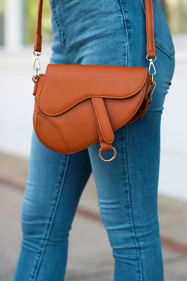 Brown McLaren Faux Leather Saddle Bag - Brown - Madison + Mallory