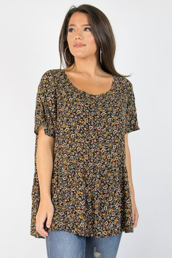 S / Black Hallie Floral Top - Madison + Mallory