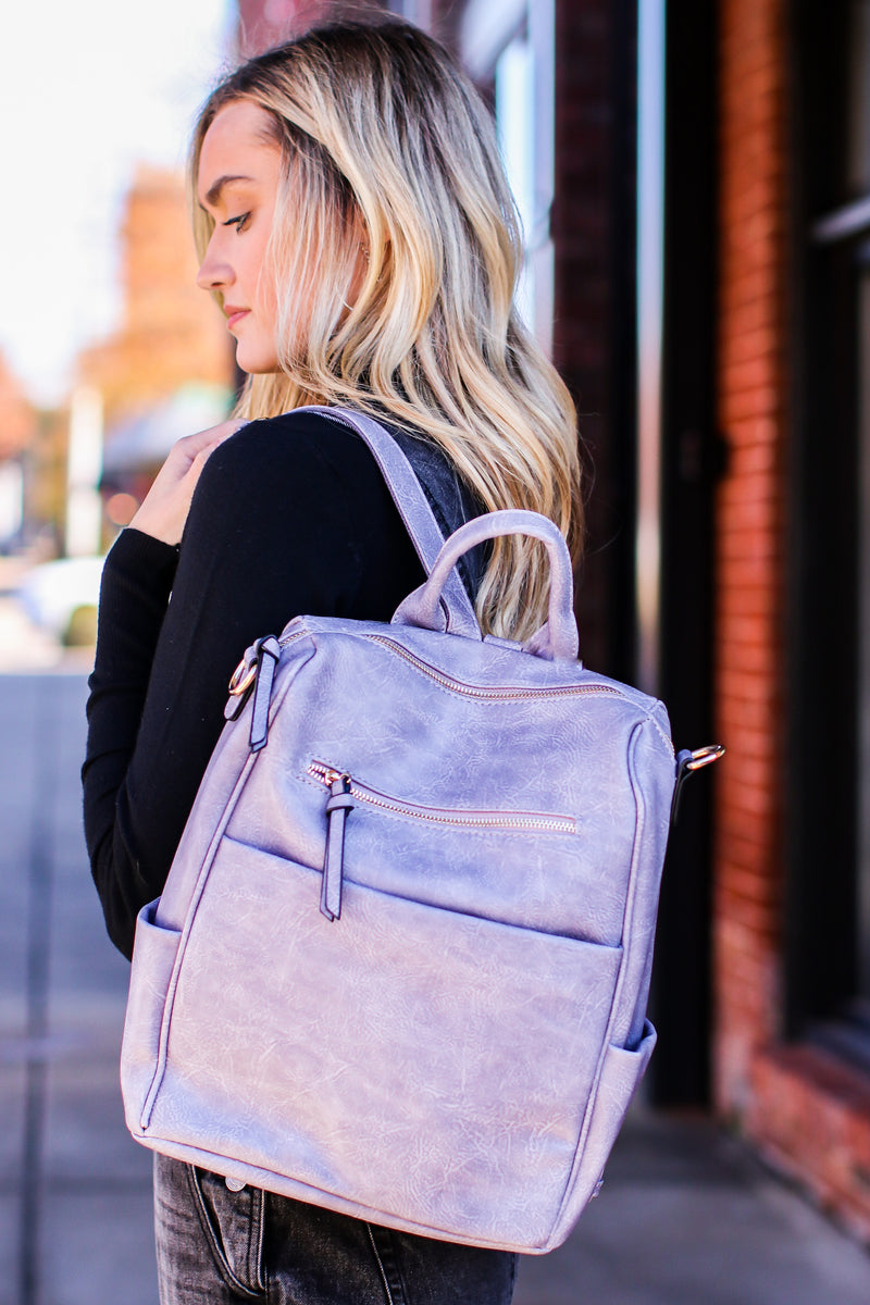 Gray Sidewalk Stunner Faux Leather Convertible Backpack - Madison and Mallory