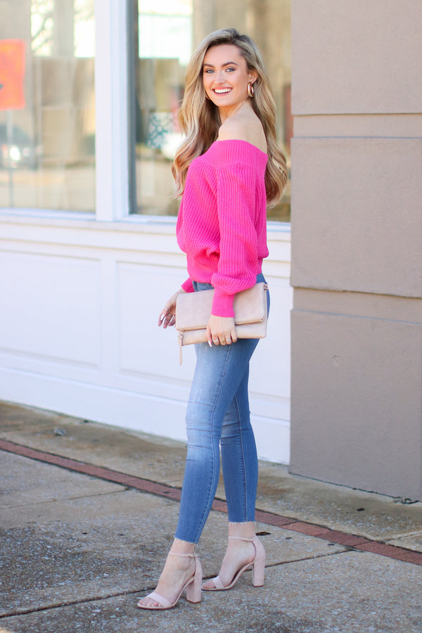 Berlin Ribbed Knit Off Shoulder Sweater - Hot Pink - Madison + Mallory