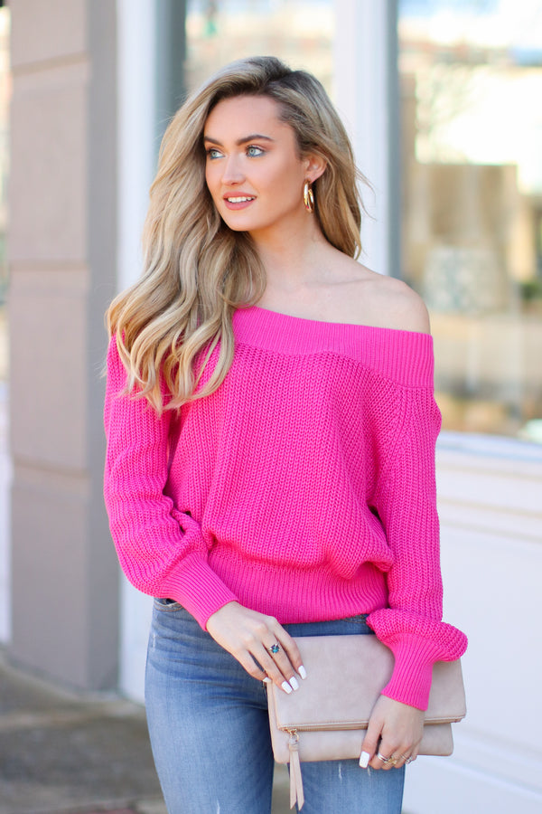 Hot Pink / SM Berlin Ribbed Knit Off Shoulder Sweater - Hot Pink - FINAL SALE - Madison and Mallory