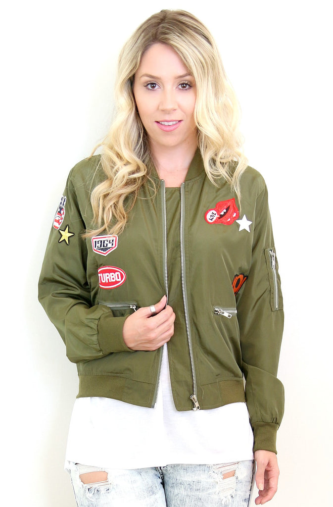 Army Green Patched Bomber Jacket