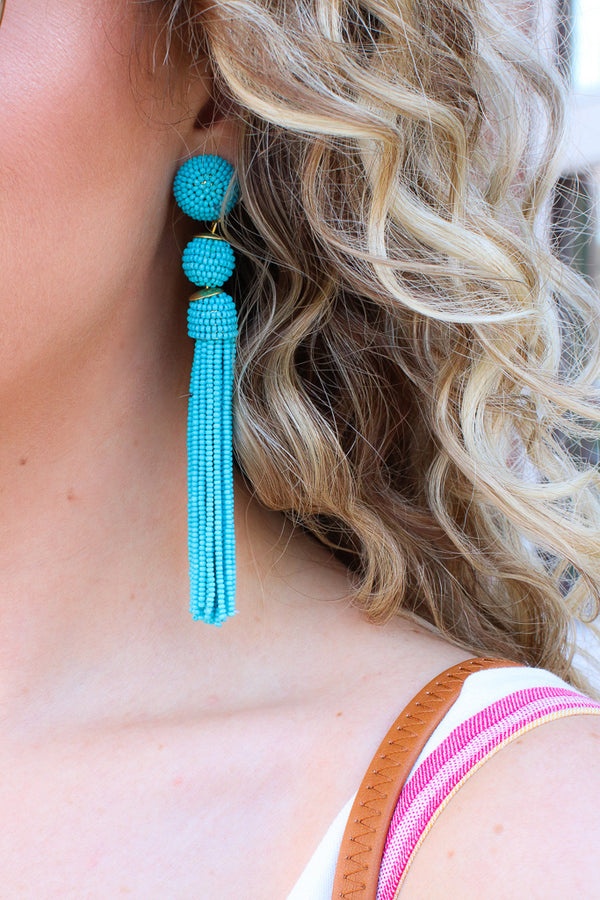Turquoise Color Me Happy Seed Bead Fringe Dangle Earrings + MORE COLORS - Madison + Mallory