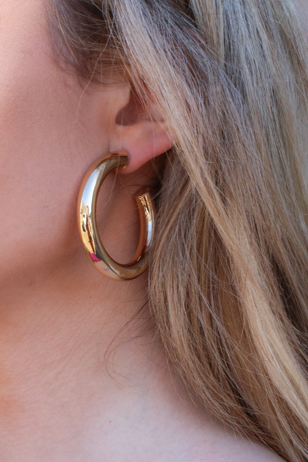 Gold Sphere and Now Hoop Earrings - Madison + Mallory