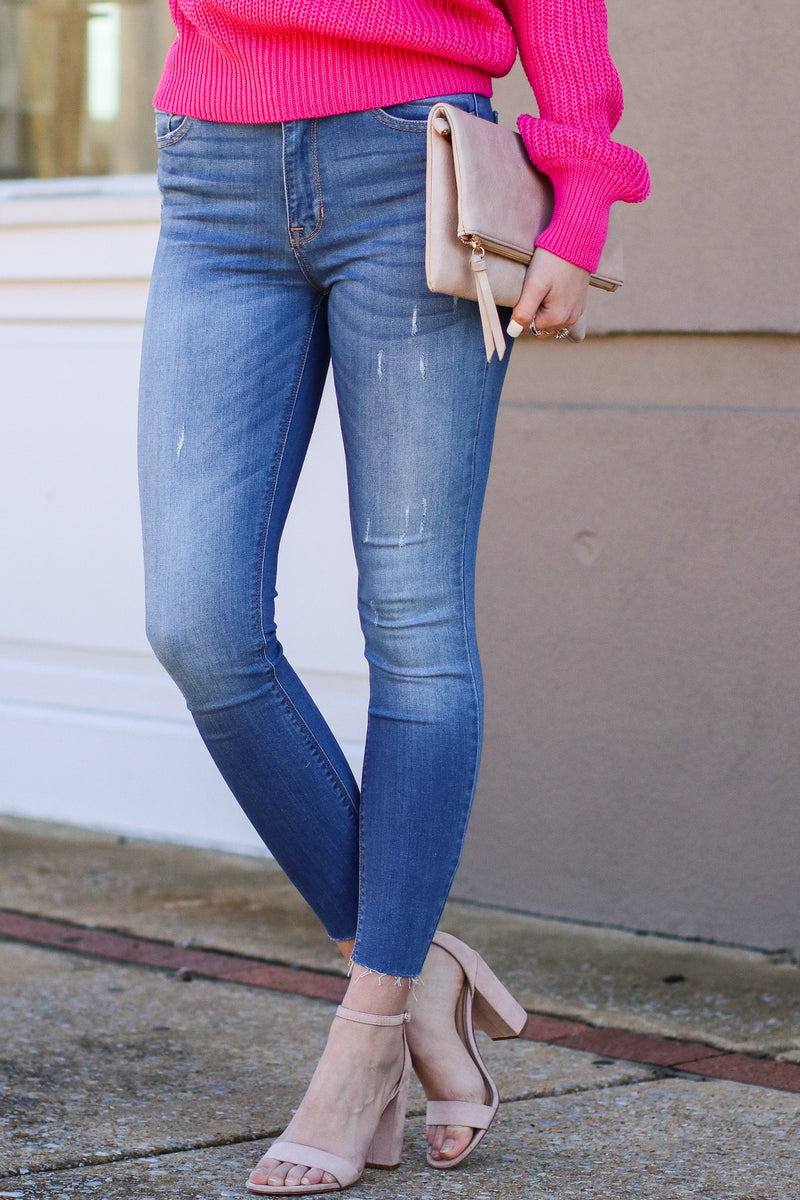 1 / M. Blue Going Viral High Rise Ankle Skinny Jeans - Madison and Mallory