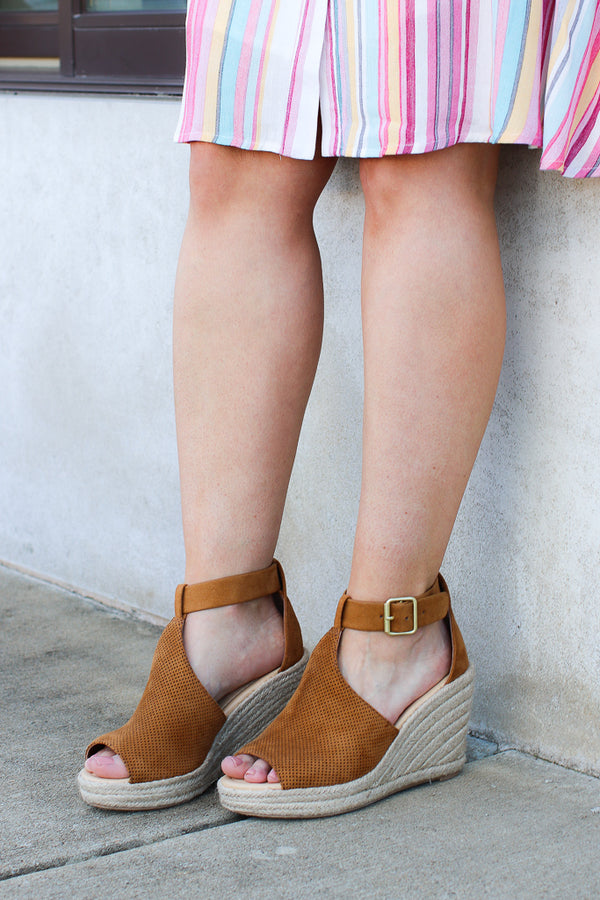 5.5 / Tan Off to Anywhere Espadrille Wedges - Madison + Mallory