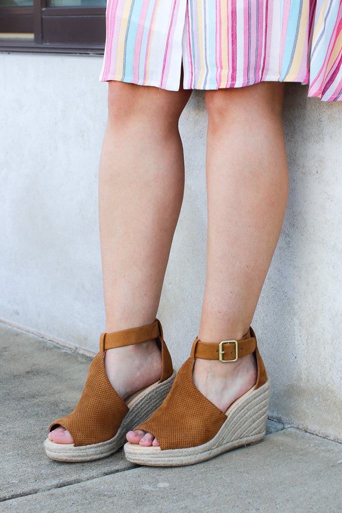 5.5 / Tan Off to Anywhere Espadrille Wedges - FINAL SALE - Madison and Mallory
