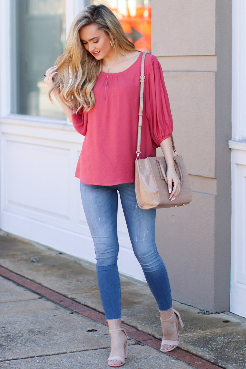 Kismet Balloon Sleeve Shirred Top - Rose - Madison + Mallory