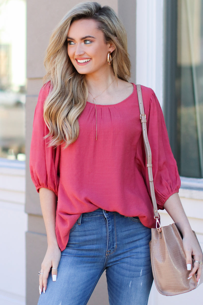 Rose / S Kismet Balloon Sleeve Shirred Top - Rose - Madison + Mallory