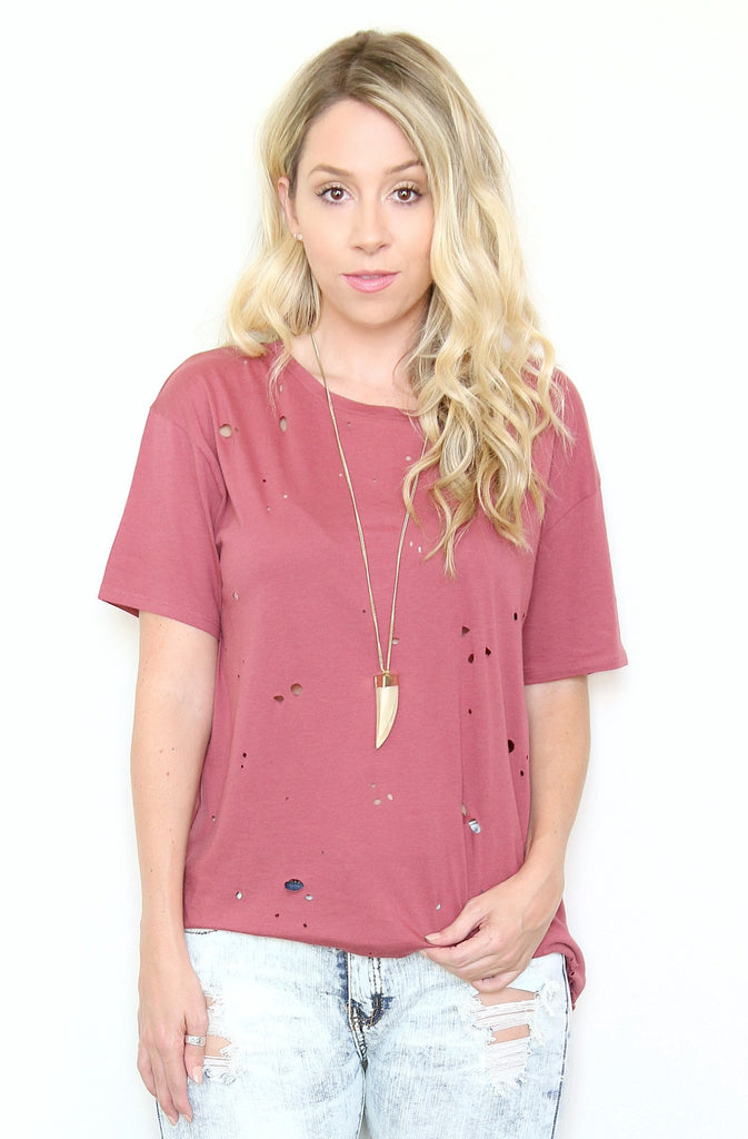 Berry Distressed Boyfriend Tee